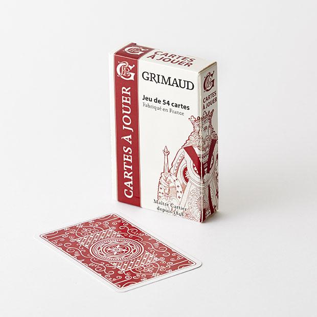 Jeu de 54 cartes à jouer rouges Grimaud Origine