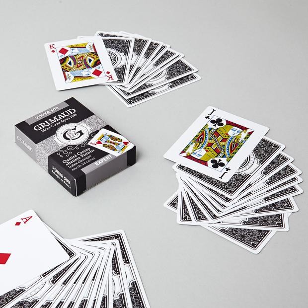 Étui du jeu de cartes poker 500 argent