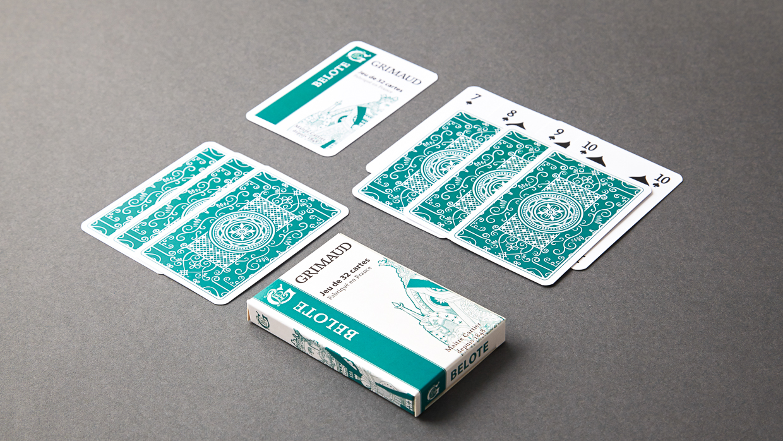 Cartes à jouer belote grimaud origine