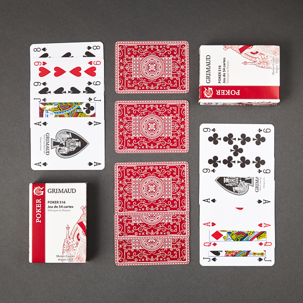 Cartes à jouer Poker 516 rouges Grimaud Origine