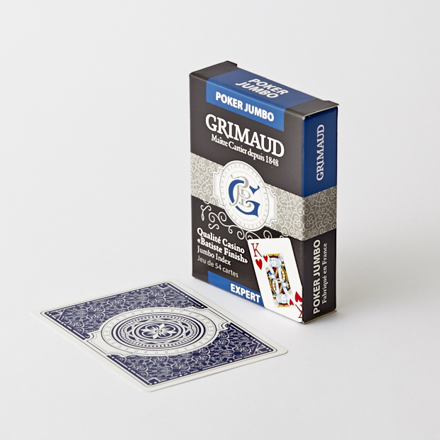 Étui du jeu de cartes poker jumbo bleu