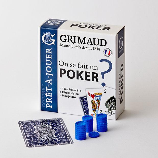 Cartes à jouer et jetons Poker 516 bleues Grimaud Origine PRÊT-À-JOUER